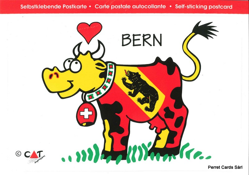 "Postcards SK 442 Stickers ""Bern"" (vache)"
