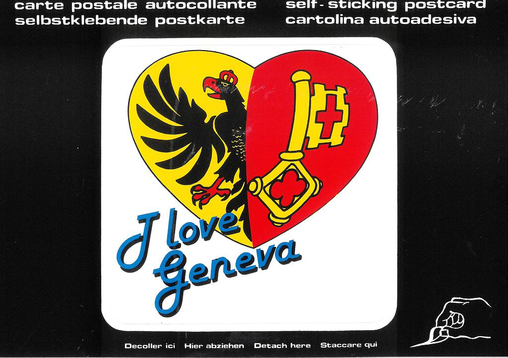 "Postcards SK 243 Stickers ""I love Geneva"""