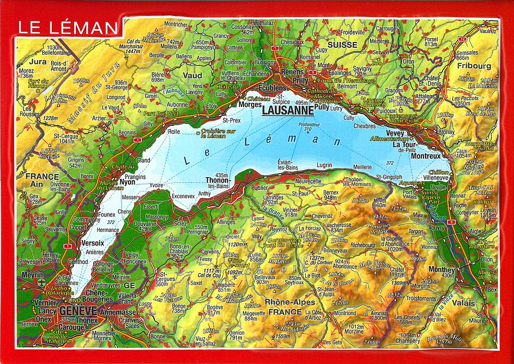 Postcards GeoRelief 34273 Le Léman